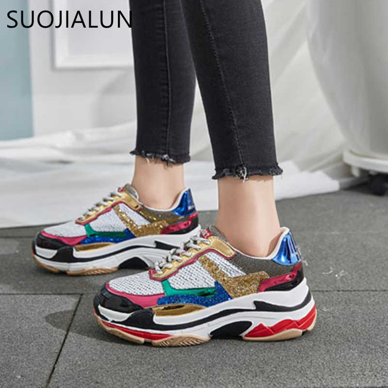 SUOJIALUN Women Shoes Casual Flat Shoes Woman Lace Up Breathable Bling Sneakers  For Women Round Toe c6f7250bb8cc