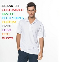 Adult Men Polyester Quick Dry Summer Polos Blank Custom Personalized Print Casual Polos 8 Color XS