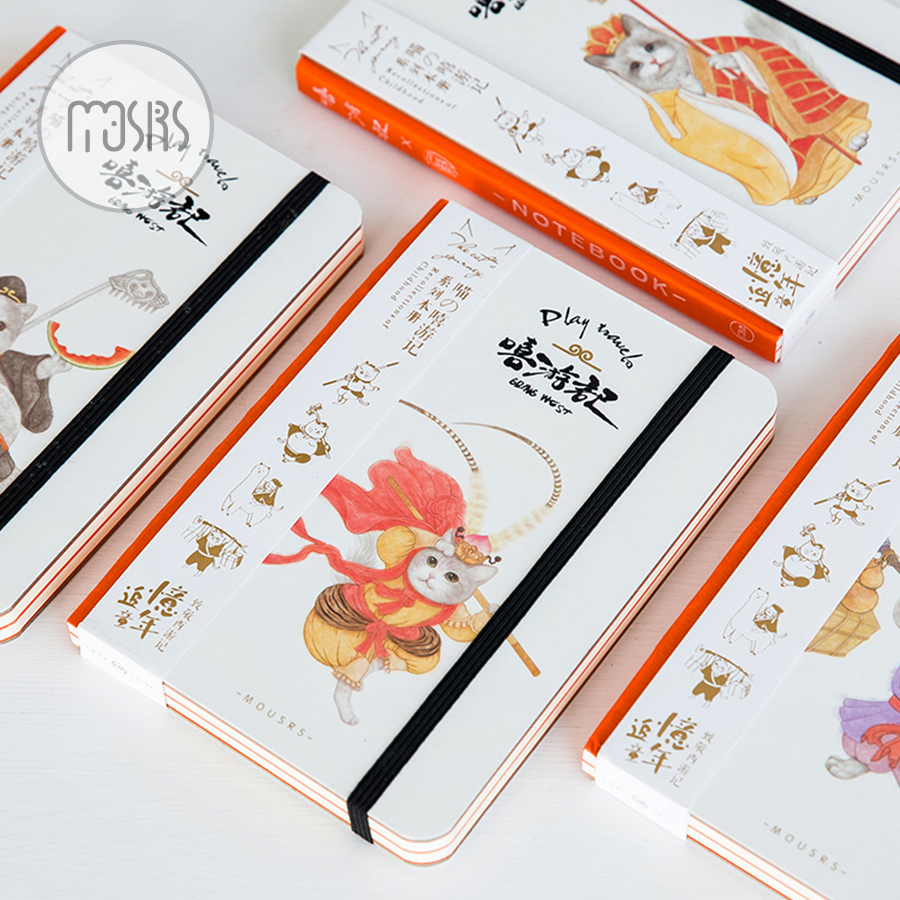 MOUSRS Journey to the West Series Blank Page Straps Notebook Notepad Diary Notebook Sketchbook 1PCS little rabbit animal series many chew toy