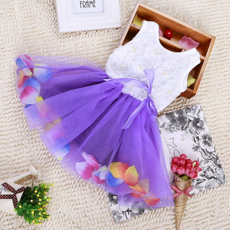 DreamShining Summer Baby Girl Dress Bow Floral Girls Princess Dresses Baby 1 Year Birthday Dress Ball Gown Children Clothes