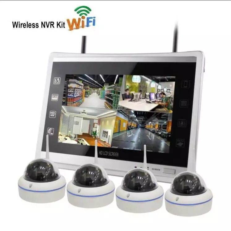 12 inch LCD Display 4CH 960P WiFi NVR CCTV Security Camera System Wireless NVR Kit Home WIFI Surveillance Outdoor IP Camera 4CH|Surveillance System| |  - title=