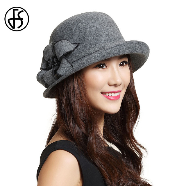 FS Women Winter Fedora Hat Black Blue Wide Brim Australian Wool Church Cloche  Hats Lady Vintage Flower Felt Caps Chapeu Feminino 21a6e597cd1