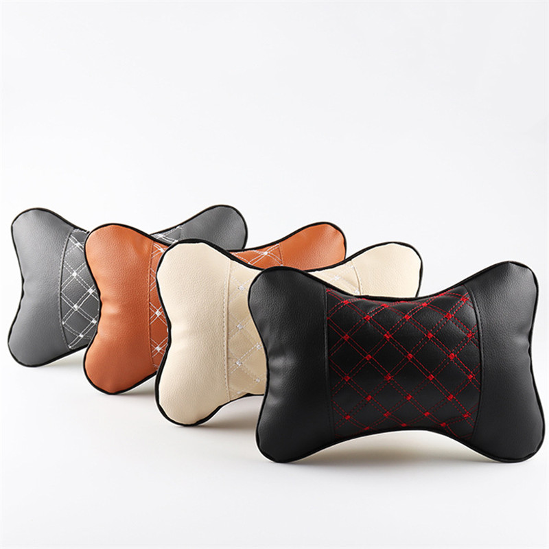 1pc Car Seat Chair Back PU Leather Support Massage Cushion