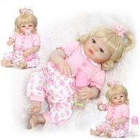 23 INCH RUSSIA BLOND BABY DOLL REBORN SILICONE VINYL FULL BODY PRINCESS LIFELIKE DOLLS KIDS BIRTHDAY
