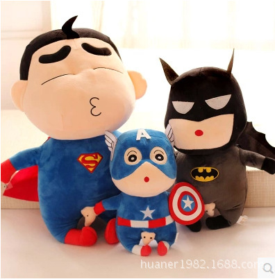 Naughty Crayon Shin Chan Spider-Man, Captain America, Superman Stuffed Plush Doll Japanese Anime Action Figure For Best Gift 10cm spider man japanese anime lovely swing doll cute black panther mobile phone holder shaking head action