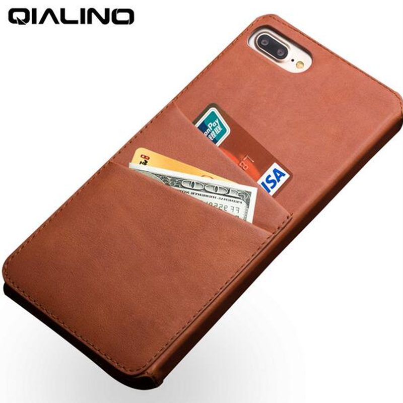 QIALINO leather case for iPhone 7 Plus with business card holder ...