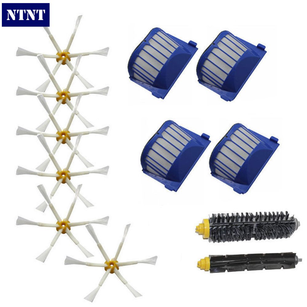 NTNT Free Shipping New 6 x Brush 6 arms + Aero Vac Filter for iRobot Roomba 600 Series 620 630 650 660 bristle brush flexible beater brush fit for irobot roomba 500 600 700 series 550 650 660 760 770 780 790 vacuum cleaner parts
