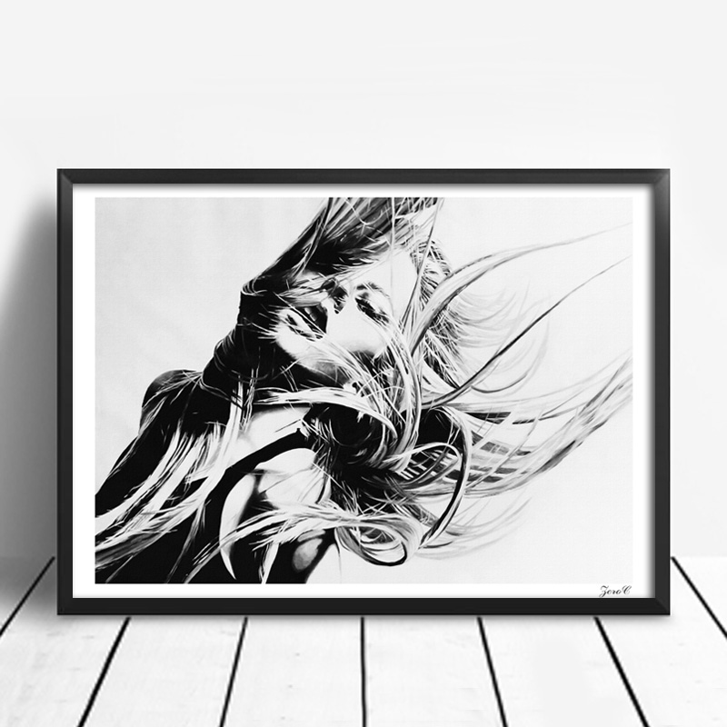Black white girl posters and prints wall art canvas painting wall pictures for living room nordic decoration in painting calligraphy from home garden on