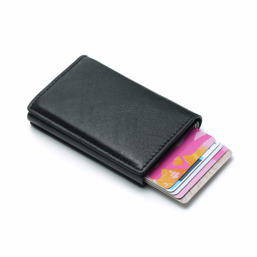 Aluminium Alloy Credit Card Holder PU Leather Wallet Antitheft Men Wallets Automatic Pop Up Card Case Metal men Card Holder RFID(China)