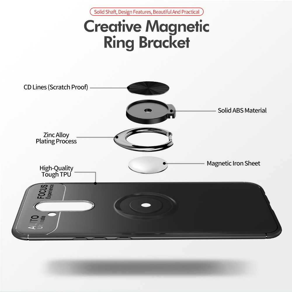 Magnetic Adsorption Metal TPU Case for Huawei Mate 10 20 Lite  Pro Holder Ring Phone Cover for Honor P9 10 20 Plus Y7 Y9 2019