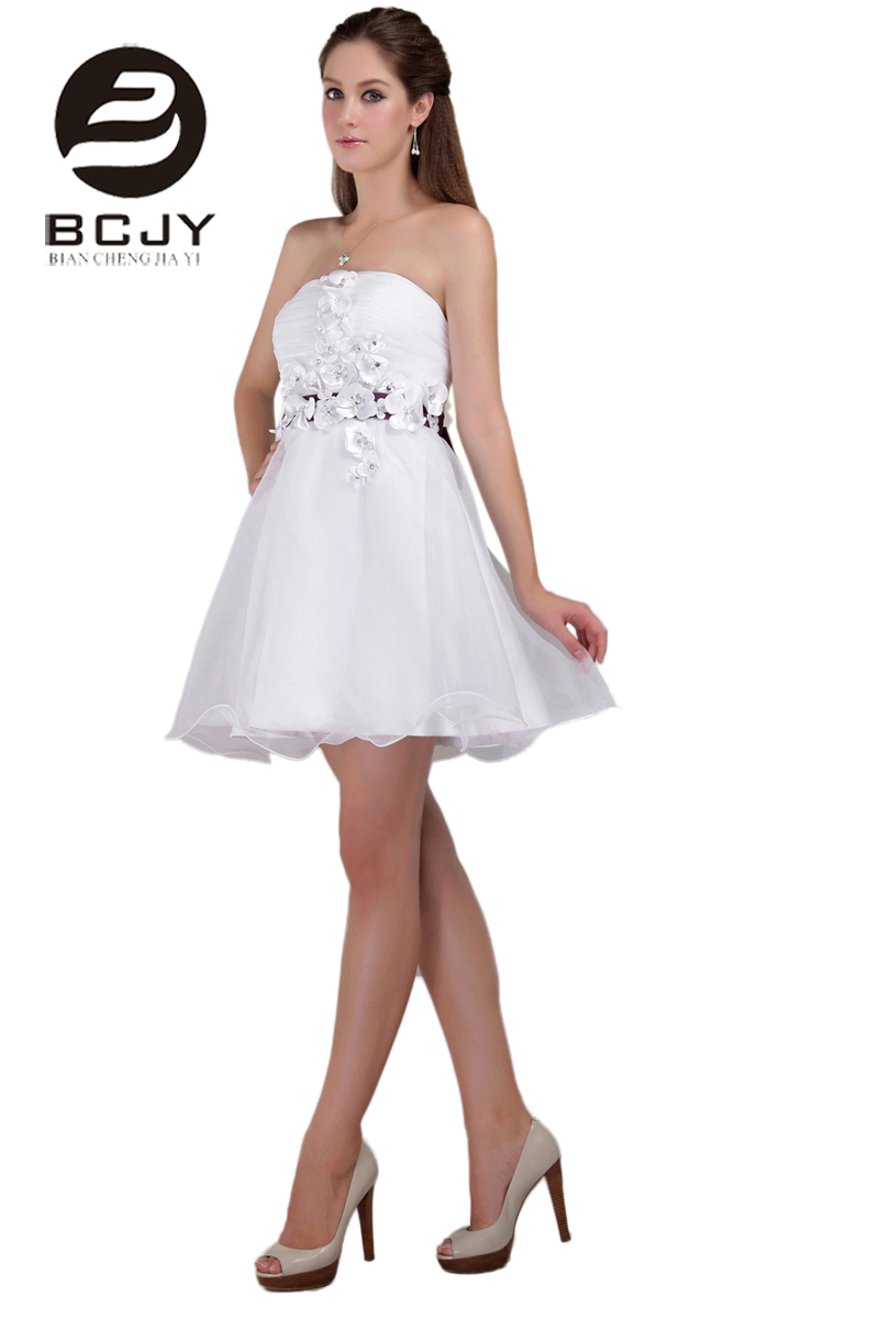 New Arrival Knee Length Dresses Party Wedding Bridesmaid Dresses Blush Strapless White Flower Bridesmaid Dresses with Bow Sashes