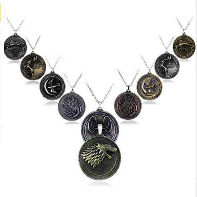 """19 styles HBO Game of Thrones Necklace House Stark Winter Is Coming Bronze 2"""" Me"""