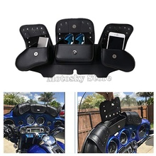 Motorcycle bag Windshield Saddle 3 Pouch Pocket case For Harley Touring Electra Street Glide 1996-2013