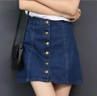 Female Vintage Blue Denim Skirt Front Button A Line Jeans Skirts Womens 2016 Jupe Femme