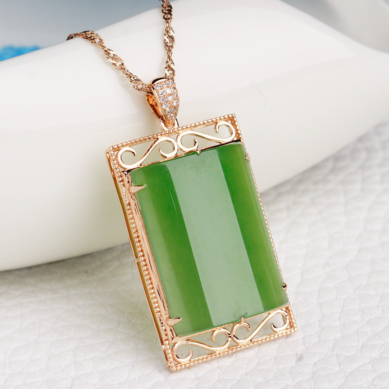 2019 Sale Top Fashion 18 K Rose Gold With The Natural Jade Pendant With Certificate Of Atmospheric Hetian Safe Brand Female