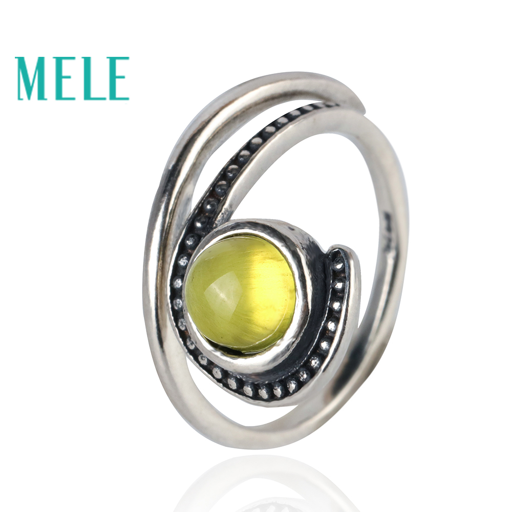 Natural yellow prehnite open ring for women,6mm roung cut mian stone 925 sterling silver Unique design fine fashion jewelryNatural yellow prehnite open ring for women,6mm roung cut mian stone 925 sterling silver Unique design fine fashion jewelry