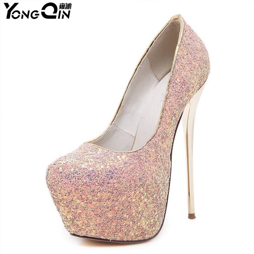 Plus Size 35-45 Sequin Round Toe Women Pumps Platform High Heels Shoes Sexy Evening Party Wedding Shoes