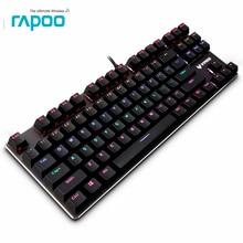 Rapoo V500 Pro Metal механическая клавиатура с подсветкой 87 ключами анти-ghosing Удобный USB Проводная клавиатура для ПК copmuter