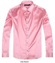 2017 Pink Luxury the groom shirt male long sleeve wedding shirt men's party Artificial silk dress shirt M-3XL 21 colors FZS27