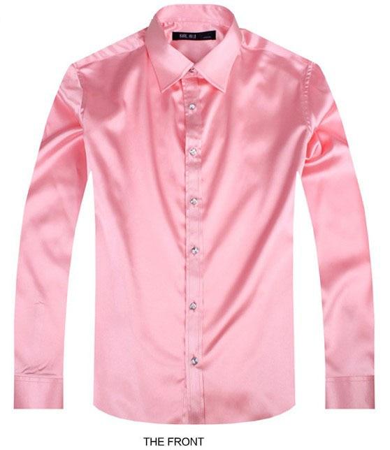 2017 pink luxury the groom shirt male long sleeve wedding for Long sleeve silk shirt dress