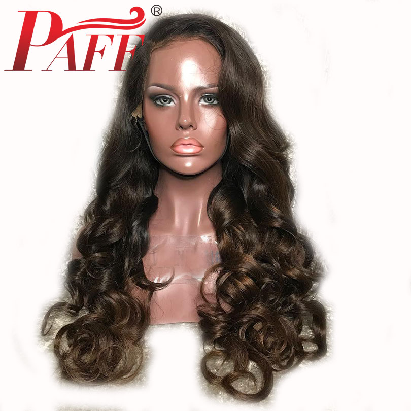 PAFF Glueless Ombre Silk Base Lace Front Human Hair Wigs 1b 4 Pre Plucked 4 4