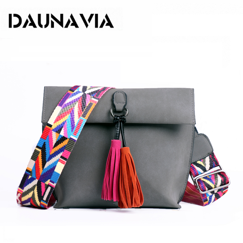 DAUNAVIA Women Messenger Bag Tassel Crossbody Bags For Girls Shoulder Bags Female Designer Handbags Bolsa Feminina Bolsos Muje
