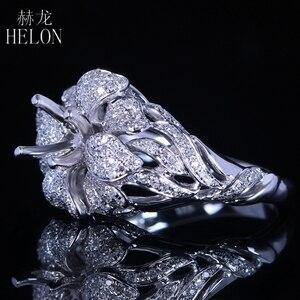 Image 4 - Helonリアル925スターリングシルバーラウンドカット5ミリメートルセミマウントパヴェ100%天然0.7ctダイヤモンド女性トレンディ花ファインジュエリーリング