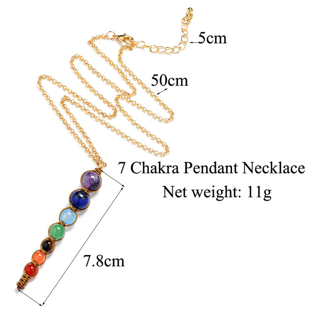 Фото женское ожерелье с 7 цветными бусинами из лавы ожерелья и подвески