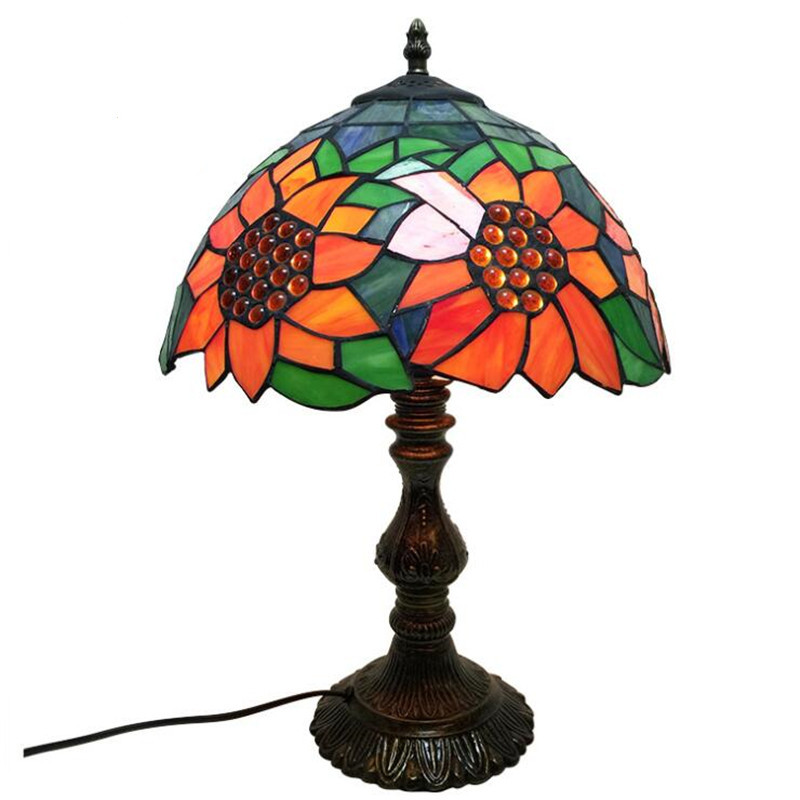12 Handmade European Tiffany Sunflowers Glass Table Lamp for Foyer Bed Room Bar Apartment Glass Reading Light H 45cm 103312 Handmade European Tiffany Sunflowers Glass Table Lamp for Foyer Bed Room Bar Apartment Glass Reading Light H 45cm 1033