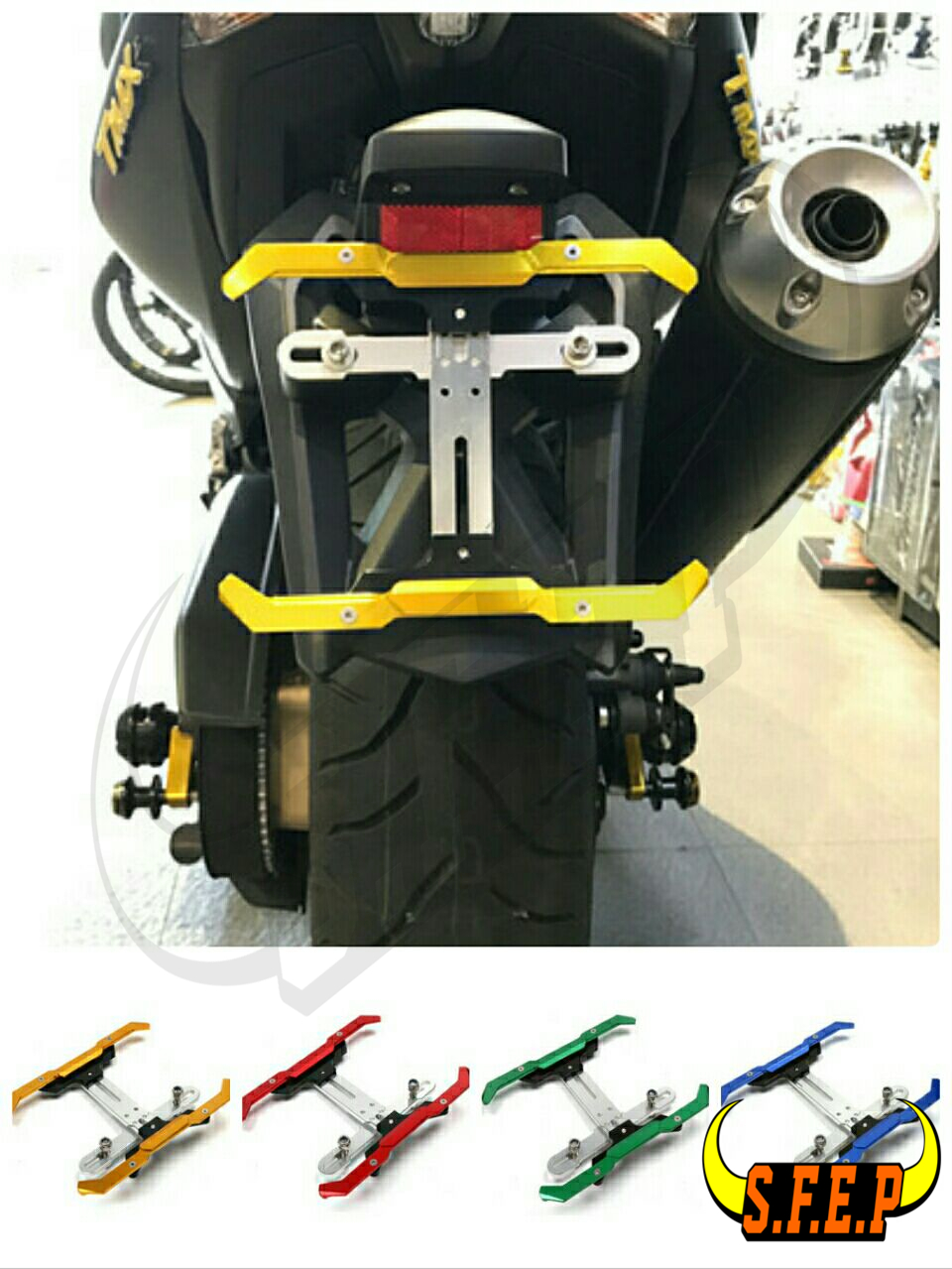 Motorcycle License Number Plate Frame Holder Adjustable Bracket For Yamaha TMAX530 NMAX155 BWS125 SMAX155 XMAX300 XMAX250