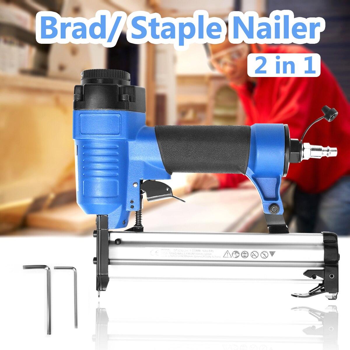 цена на 10-32mm 2 in1 Mini Air Staple Nailer Gun Electric Tacker SF3232 Brad Nail Gun Furniture Woodworking Stapler Air Power Tools