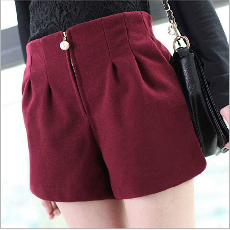 Winter Shorts For Women Wool Boots Shorts Candy Colors Pearls Loose Short Pants With Pockets Female Loose Zipper Woolen Shorts
