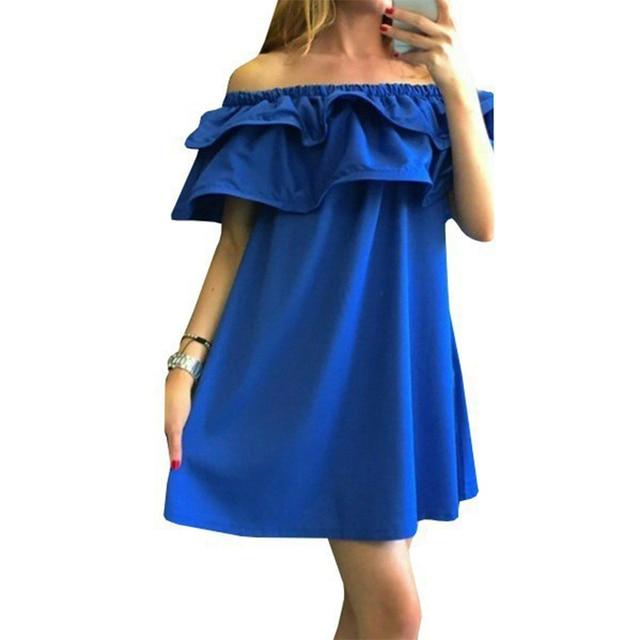 Hot sale 2017 summer dress solid color off shoulder for women dresses fashion casual sexy dresses vestidos beach dress  CDD139