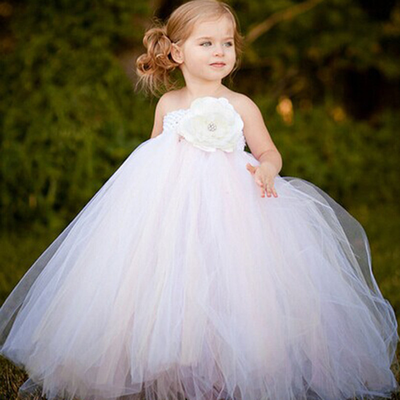 ФОТО Girl Dress White Mix Ivory Floor Length Flower Tutu Girls Clothes  Wedding Birthday Party