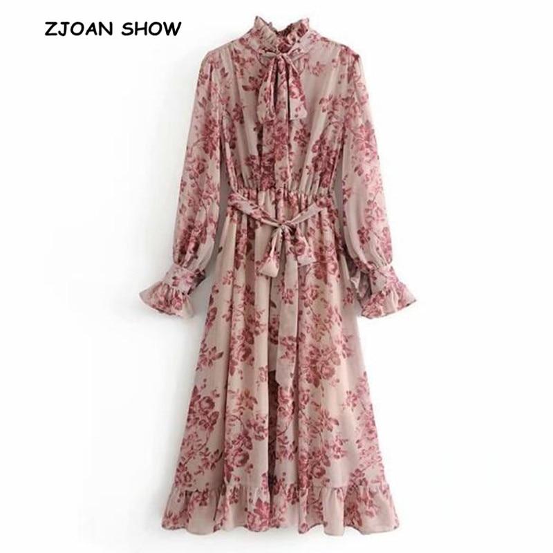 2019 Spring New Pink Flower Print Long Sleeve Dress With Sashes Women Vintage Tide Bow Collar Ruffles Hem Dresses Femme Vestido