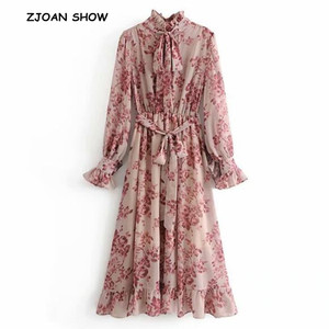 2019 Spring New Pink Flower print Long Sleeve Dress With Sashes Women Vintage Tide Bow Collar Ruffles Hem Dresses Femme Vestido(China)