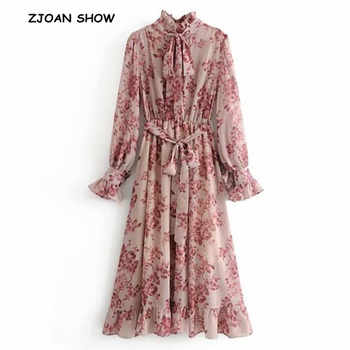 2019 Spring New Pink Flower print Long Sleeve Dress With Sashes Women Vintage Tide Bow Collar Ruffles Hem Dresses Femme Vestido - DISCOUNT ITEM  10% OFF All Category