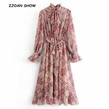 2019 wiosna nowy różowy kwiat wydruku z długim rękawem sukienka z szarfą kobiety w stylu Vintage fala łuk kołnierz Ruffles Hem sukienki Femme Vestido