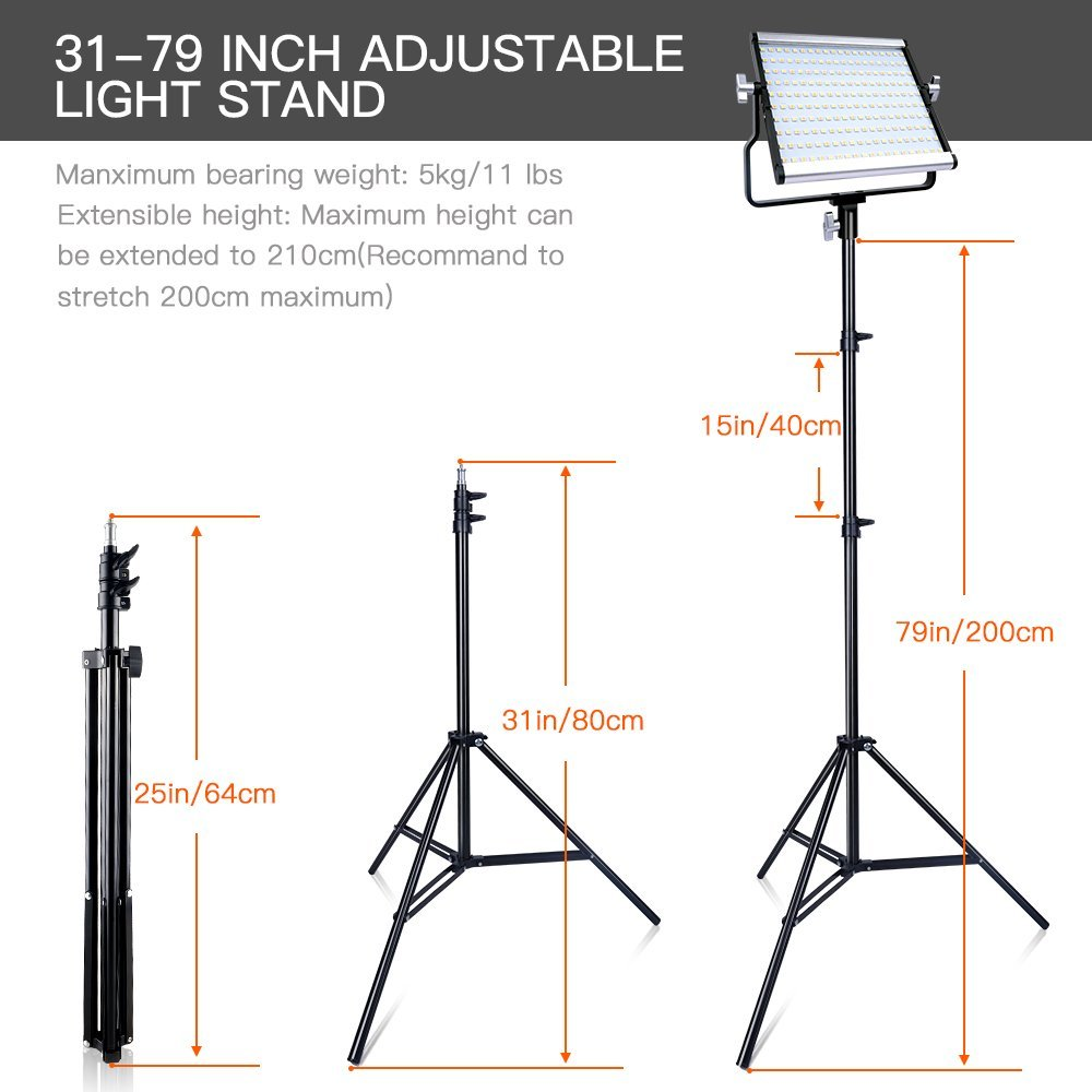 Image 5 - capsaver L4500 2 Sets Photography Lighting with Tripod LED Video Light for Studio YouTube Photo Lamp Bi color 3200K 5600K CRI 95Photographic Lighting   -