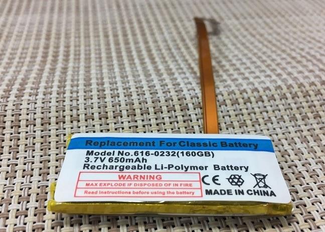 ISUN 10pcs/lot 650 mAh Polymer Internal Replacement Battery for ipod classic For Video gen 30 gb 160 gb gen 616-0229/616-0232