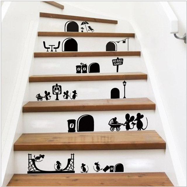 Removable Decorative Decals Vinyl Waterproof DIY Wall Stickers Cartoon  Mouse Story Stickers Home Stairs Decorative Wall