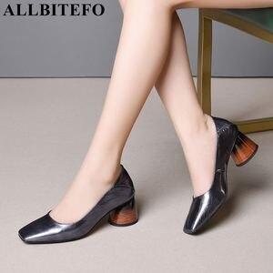 Image 1 - ALLBITEFO mulheres saltos de couro genuíno cheio de alta qualidade sapatos de moda primavera mulheres sexy de salto alto do dedo do pé quadrado sapatos de salto alto