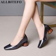 Allbitefo 고품질 전체 정품 가죽 여성 발 뒤꿈치 신발 광장 발가락 봄 패션 섹시한 여성 하이힐 신발 하이힐
