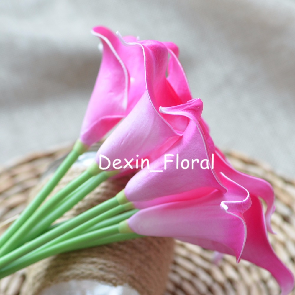 Picasso Hot Pink Fuchsia Calla Lilies Real Touch Flowers For Silk
