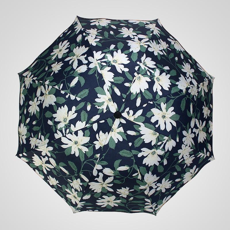 Lower Price with Portable Sun Umbrella Pattern Womens Umbrella Flower Rain Travel Uv Proof Sunshade Umbrellas Black Coat Female Paraguas U5b148 Household Merchandises