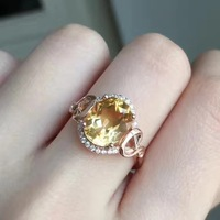 Citrine ring Natural real citrine Finger ring gemstone 6*8mm 925 sterling silver Fine yellow crystal jewelry