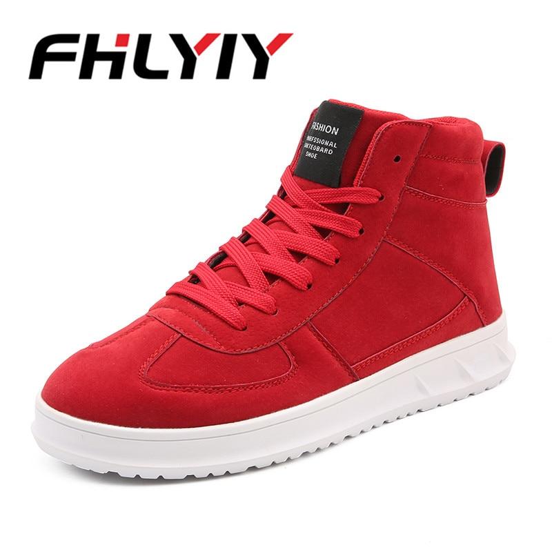 7ac28f15f Comprar Dos homens De Alta Top Calçados Casuais Lace Up Outono Inverno Moda  Mens Sapatos Zapatos De Hombre Estudante Partido Calçado Sapatilhas  Sapatilhas ...