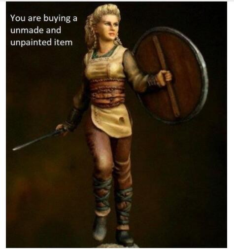 1/24 75mm Viking Shieldmaiden ANCIENT Army 75mm    Toy Resin Model Miniature Kit Unassembly Unpainted