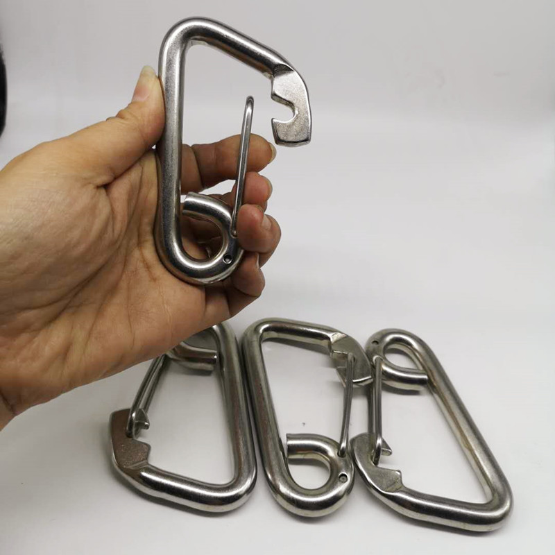 4PCS 100mm Silver 304 Stainless Steel Carabiner Spring Camping Climbing M10 Snap Hook