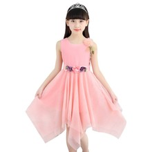 Girls Dress  2019 new summer sleeveless Kids Clothes Flowers Chiffon Dresses 3-12 years Baby Girl Clothes недорого